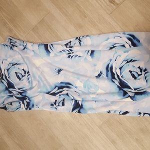 Blue floral sheath dress